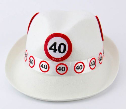 Traffic Sign 40th Party White Trilby Hat Birthday Novelty Gift Favour Favor